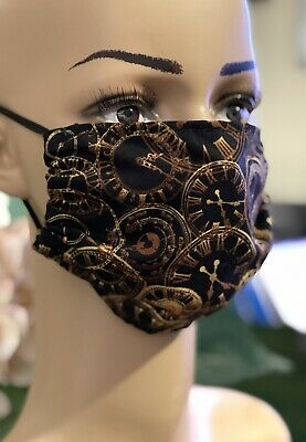 £2 • Buy GOTHIC STEAMPUNK Handmade Face Covering Mask 100% Cotton Gold Clocks On Black🕰
