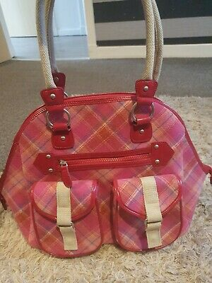 £17.99 • Buy Ness Overnight Bag Tote Luggage Pink Tartan Tweed Woven Wool Large Gym L XL