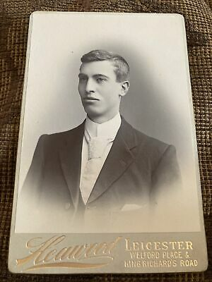 £5.99 • Buy Victorian Cabinet Card Photo Young Man, White Tie - Heawood, Leicester