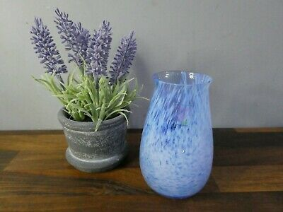 £10 • Buy Vintage Caithness Art Glass - Small Posy Vase, Streaked And Speckled With Blue
