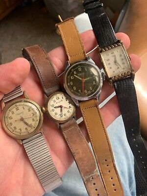 $ CDN13.91 • Buy 4 VINTAGE WATCHES BULOVA AUTOMATIC ORVIN MILITARY WATCH LOT Parts Or Repair!! NR