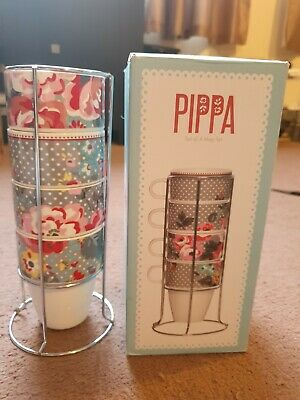 £13.49 • Buy Pippa Set Of 4 Coffee(tea) Mugs Stackable On Chrome Stand,never Used