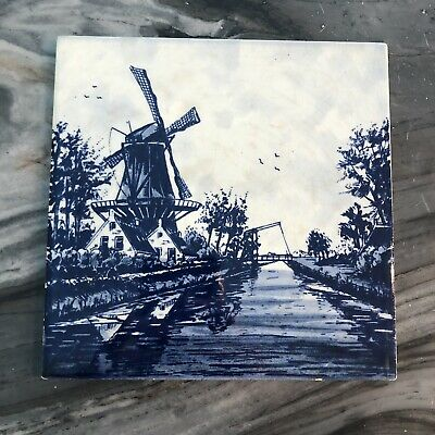 £7.09 • Buy Vintage Delft Windmill Tile Blue And White
