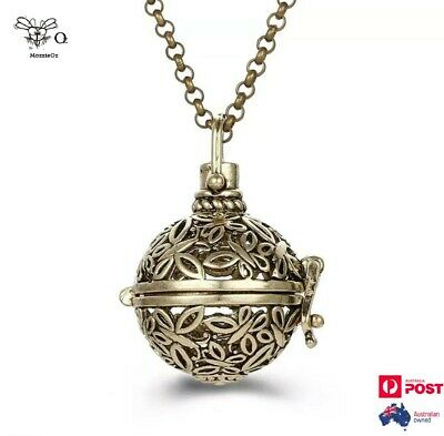 AU19.95 • Buy Round Butterfly Locket Aromatherapy Oils Diffuser Gold Necklace + 2 Balls