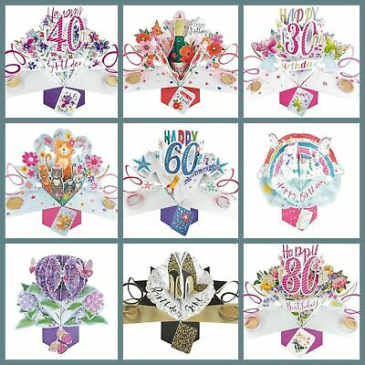 £3.49 • Buy Happy Birthday Pop Up Card Female And Male Keepsake For All Occasions Mum Dad
