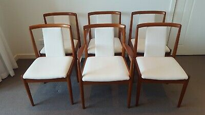 AU2000 • Buy 6 Parker T-Back Mid Century Retro Vintage Teak Timber Dining Chairs Inc Carvers