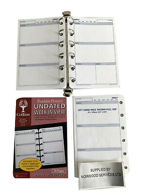 £5.99 • Buy  UNDATED (Any Year) Week In View Diary Insert A7 (81x120mm) Pocket SIze