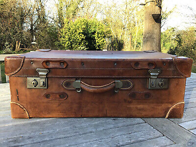 £67 • Buy Vintage Large Strong British Made Leather Suitcase With Key