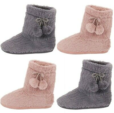 £12.95 • Buy Ladies Womens Warm Bootie Pom Pom Bootee Winter Ankle Boots Slippers Size 3-8