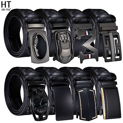 £17.99 • Buy UK Formal Mens Ratchet Belts For Automatic Buckle Black Real Leather Waist Strap