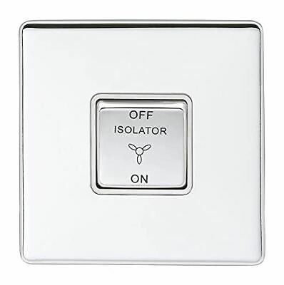 £11.39 • Buy 10Amp Fan Isolator Switch Concealed Polished Chrome Plate Matching Rocker White