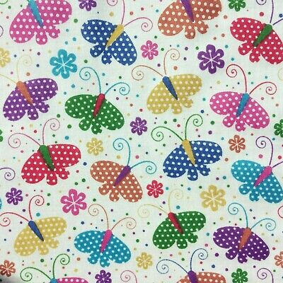 £3.69 • Buy Polycotton Fabric 45  Wide Butterfly Floral Per Metre Low Price