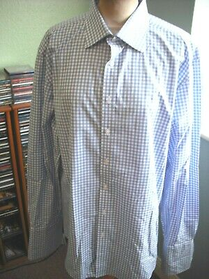 £14 • Buy Thomas Pink The Sterling Slim Fit Blue Check Double Cuff Shirt 16.5 In.