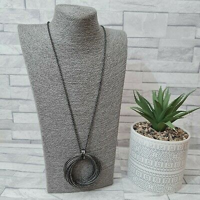 £8.50 • Buy Long Statement Necklace Grey Chain Metal Rings Pendant Costume Jewellery Modern