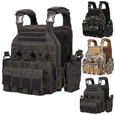 $95.66 • Buy Tactical Military Vest Molle Quick Release Heavy Duty Plate Carrier W/ Pouches