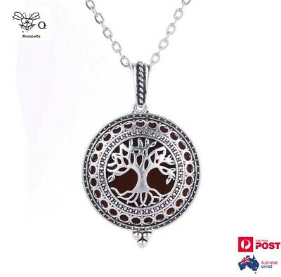 AU15 • Buy Tree Locket Necklace Aromatherapy Essential Oils Diffuser + 2 Pads