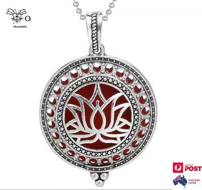 AU15 • Buy Lotus Flower Locket Necklace Aromatherapy Essential Oils Diffuser + 2 Pads