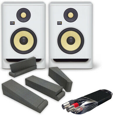 £349 • Buy KRK Rokit RP5 G4 White Noise (Pair) + Iso Pads + 3mtr RCA To XLRm Cable Deal