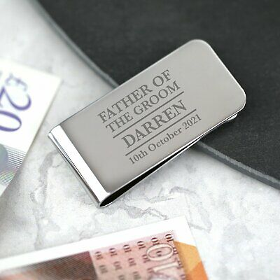£6.99 • Buy Personalised Father Of The Groom Money Clip Father Of The Bride Engraved Gift