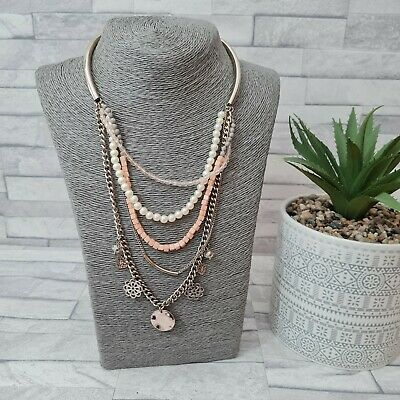 £8.50 • Buy OASIS Multi Strand Necklace Goldtone Chain Orange Cubes White Faux Pearls