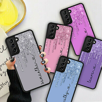 £5.98 • Buy PERSONALISED NAME Glitter HEART Phone Hard Case Cover For Samsung S21 Plus Ultra