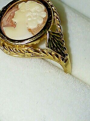 £120 • Buy Ladies Vintage 1970s 9ct Yellow Gold Oval Cameo Ring  Size T