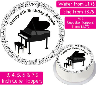 £3.75 • Buy Piano Edible Wafer & Icing Personalised Cake Toppers Decor Birthday Party Music