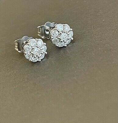 £299 • Buy 9ct Solid White Gold Diamond Earrings 0.50ct Daisy Flower Cluster Studs