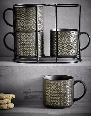 £22.99 • Buy Next Set Of 4 Black And Gold Metallic Embossed Stacking Mugs/cups New