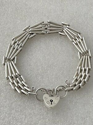 £55 • Buy Vintage Sterling Silver Double Four Bar Gate Bracelet With Heart Clasp, 30 Grams