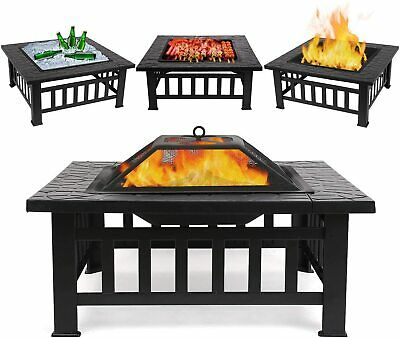 £89.99 • Buy Outdoor Fire Pit BBQ Firepit Brazier Garden Square Table Stove Patio Heater
