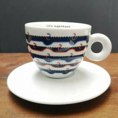 £20 • Buy Illy Art Collection Cups & Saucers Gillo Dorfles Espresso Cappuccino Coffee Blue
