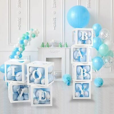 £5.95 • Buy WHITE A-Z Letter Cube Wedding Baby Shower Balloon Box Birthday Party Decor