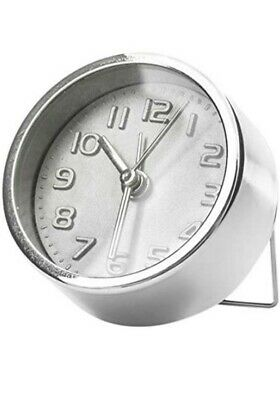 £9.99 • Buy Kikkerland Mini Silver Plated Analogue Alarm Clock With Built-In Stand