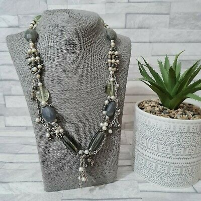 £8.90 • Buy Statement Necklace Multi Strand Chains Grey Chunky Glass Beads Costume Jewellery