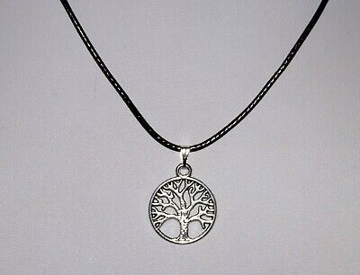 £2.75 • Buy Tibetan Silver Tree Of Life Necklace With Adjustable Black Braided Leather Cord.