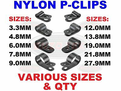 £7.95 • Buy Plastic P Clips - Black Nylon Fasteners For Cable, Conduit, Tubing Sleeving Wire