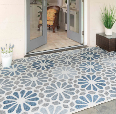 £26.90 • Buy Contemporary Floral Rug Patio Terrace Rugs Flatwave Kitchen Blue Novelty Mats