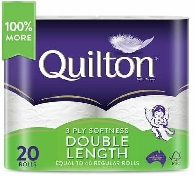 AU39.95 • Buy Toilet Paper 20 Rolls Deluxe Quilton 3 Ply DOUBLE LENGTH Large Roll Tissue Bulk