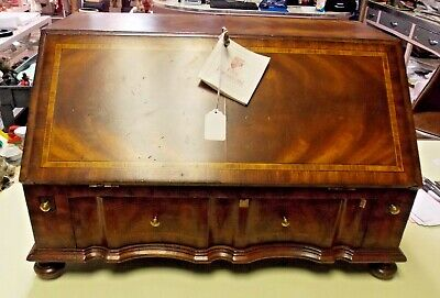 $375 • Buy Maitland Smith Marquetry Inlaid Secretary Table Top Slant Front Desk