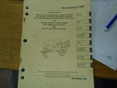 $42.50 • Buy TM9-2330-251-14 & P ~  Maintenance Including Parts Manual For Jeep Trailer M416