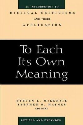 £20.46 • Buy To Each Its Own Meaning : An Introduction To Biblical Criticisms And Their Ap...