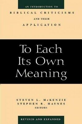 £20.61 • Buy To Each Its Own Meaning : An Introduction To Biblical Criticisms And Their Ap...