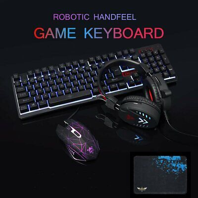 AU30.95 • Buy 4 In 1 Rainbow LED USB Gaming Keyboard And Mouse Headset MIC Set For PC Laptop