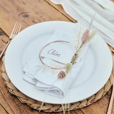 £7.99 • Buy WEDDING HOOP PLACE CARDS 4 Rose Gold Contemporary Name Card Setting Table Decor