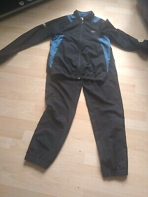 £52 • Buy Lacoste Tracksuit Size 2 Top Size 3 Bottoms Black With Blue