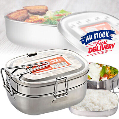 AU14.89 • Buy Double Layer Bento Food Container Picnic Lunch Box Case Stainless Steel