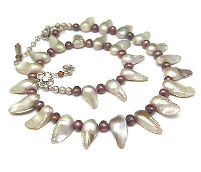 $39 • Buy Mabe Pearl Necklace Sterling Silver Real Freshwater Baroque Bridal June Birthday