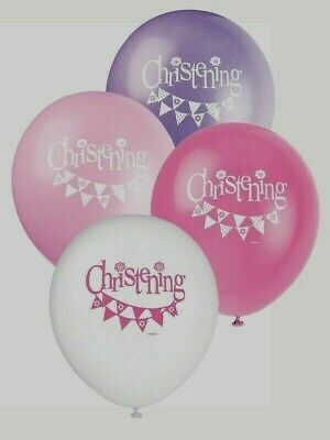 £2.79 • Buy CHRISTENING PARTY BALLOONS - 8 X PINK & WHITE DECORATIONS - GIRL  Helium Quality