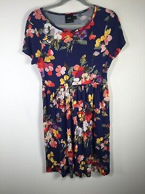 AU24.95 • Buy Asos Maternity Womens Navy Blue Floral Fit Flare Dress Size 12 Short Sleeve